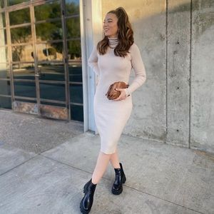 Turtleneck Ribbed Long Sleeve Sweater Dress